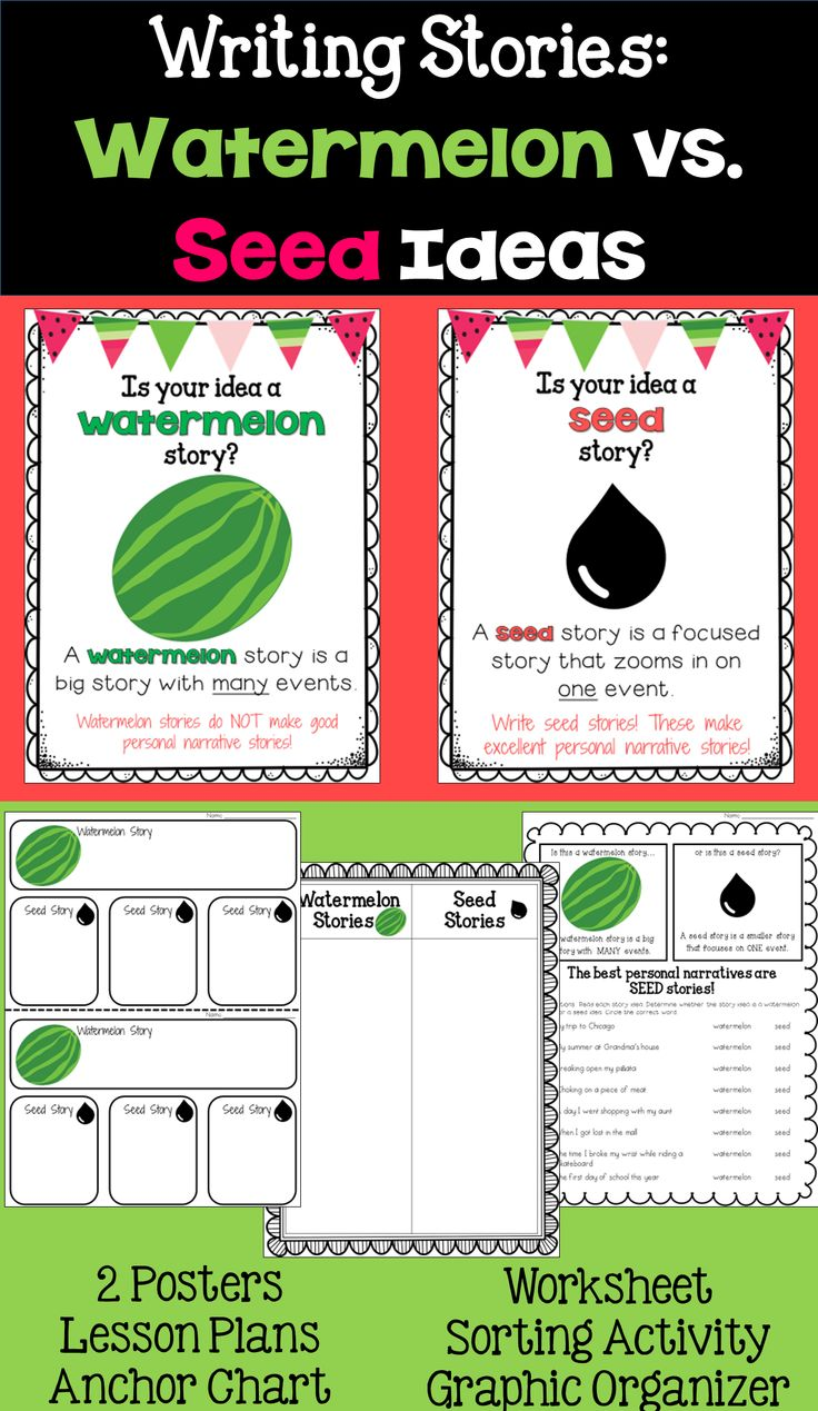 Watermelon vs Seed Stories bundle of activities. This includes 4 activities ideas, 2 posters, and 2 days of lesson descriptions!