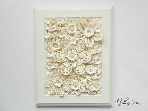 Quilling white flowers/paper art/wall art/home by PaperArtbyAda