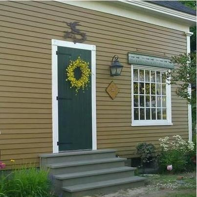 """All Old Village Paint! Shared by Lynne Mizner, """"Valley Forge Mustard clapboard, Bayberry Green door and Antique Pewter steps . . . work in progress. I love Old Village paint!!! """""""