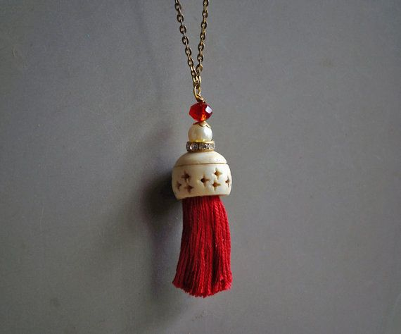 Gypsy red tassel necklace