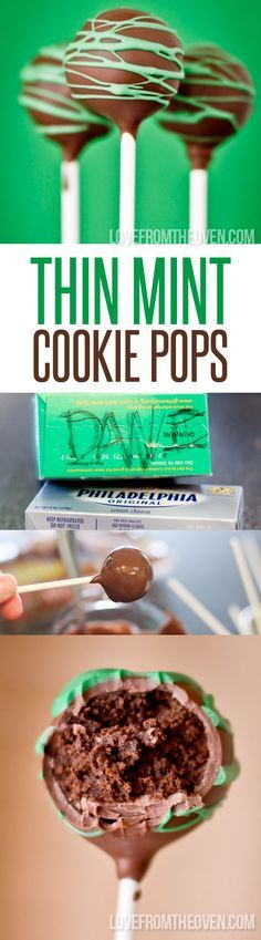 Thin Mint Cookie Pops.  Oh my word, this might be the greatest thing I've ever done with a box of Girl Scout Cookies!  These are so good and super easy!  Buying extra cookies to make these.