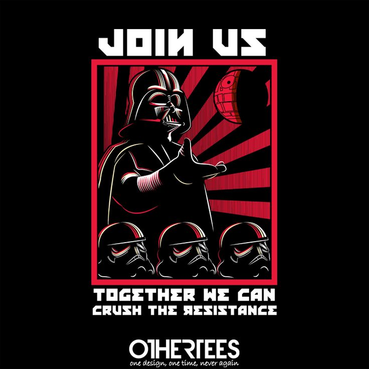 """""""Crush the Resistance"""" by piercek25 T-shirts, Tank Tops, Sweatshirts and Hoodies are on sale until 13th October at www.OtherTees.com Pin it for a chance at a FREE TEE! #starwars #lordvader #vader #othertees"""