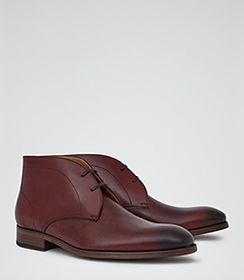 Mens Ox Blood Leather Desert Boots - Reiss Coster