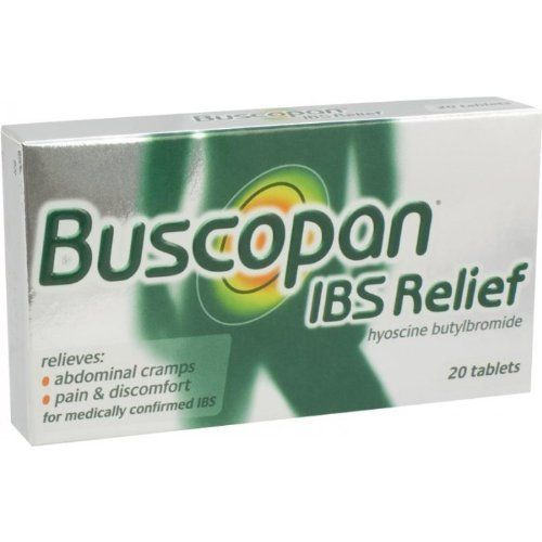 Buscopan Ibs Relief Tablets 10Mg by Buscopan. $39.28. Buscopan Ibs Relief Was First Developed Over 50 Years Ago, To Provide Relief To People Suffering With Abdominal Pain And Discomfort Due To Cramps Of The Gastro-Intestinal Tract. It Is Now The Most Popular Selling Antispasmodic Treatment Worldwide, Sold In More Than 50 Countries Around The World. Buscopan Ibs Relief Tablets Contain The Active Ingredient Hyoscine Butylbromide, Which Is Derived From Natural Hyos...