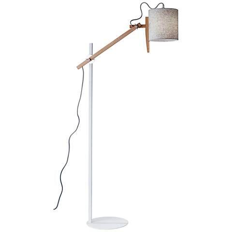Keaton White and Natural Ash Wood Adjustable Floor Lamp