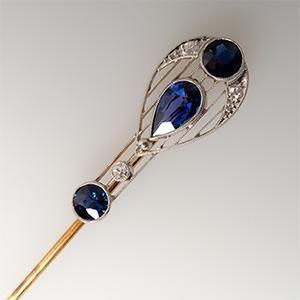 Blue Sapphire & Diamond Stick Pin 14K Gold & Platinum