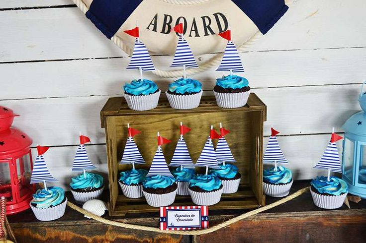 Fun cupcakes at a nautical birthday party! See more party planning ideas at CatchMyParty.com!