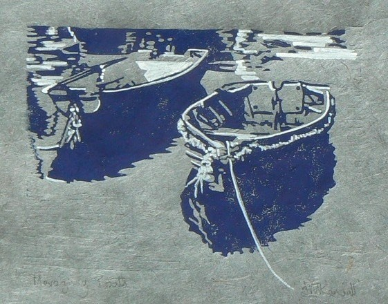 Mevagissey Boats Lino cut print Jane kendall