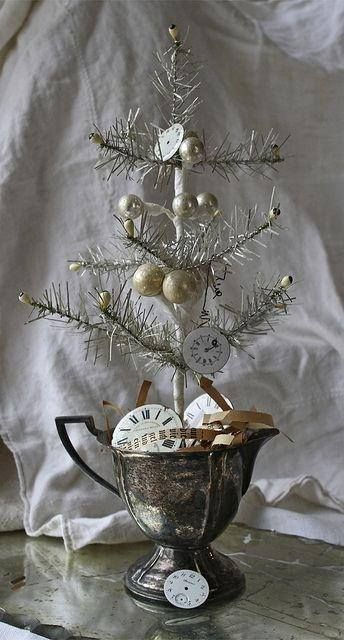 Old silverplate creamer is perfect in a white and silver Christmas display.