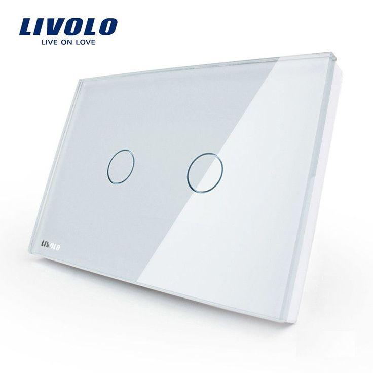 Livolo Wall Switch 110~250V Ivory White Glass Panel 2-Gang Us Touch Light Switch Vl-C302-81 W/ Led Indicator