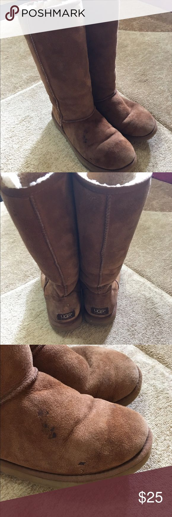 UGG Beige boots Super cute UGG tall Beige boots size 7. There is a small stain on the right boot shown in the last photo, and the hole is fixed. Other than that they're in good condition. Please ask any questions before purchasing! UGG Shoes Winter & Rain Boots