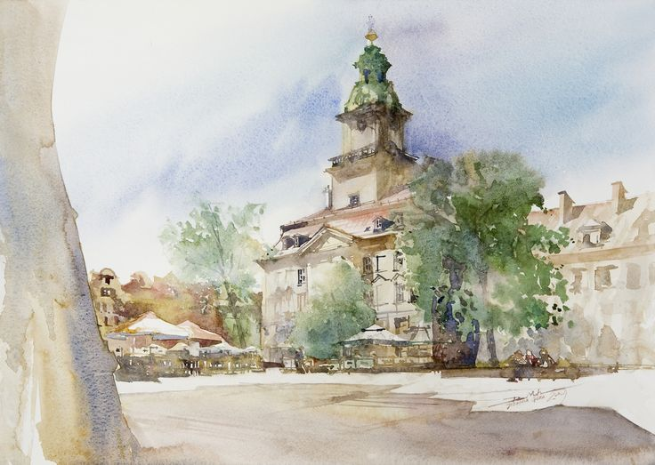 Town Hall in Jelenia Gora, 36x51cm, 2009 www.minhdam.com #architecture #watercolor #watercolour #art #artist #painting #jeleniagora #poland
