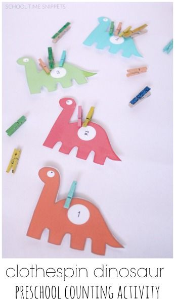 Calling all dino-lovers!!  Work on number recognition, counting, and fine motor skills with this clothespin dinosaur counting tray!