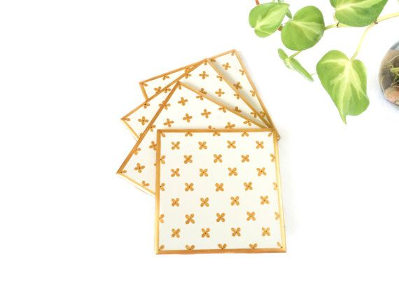 Gold Coasters Gold decor Gold coaster White and gold - TheGIldedVines