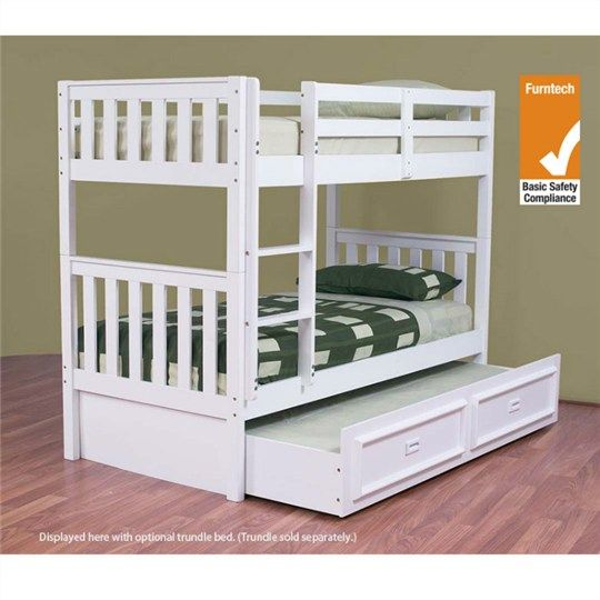 Jester Wooden Single Bunk Bed without Trundle - Arctic White - Bunk Beds