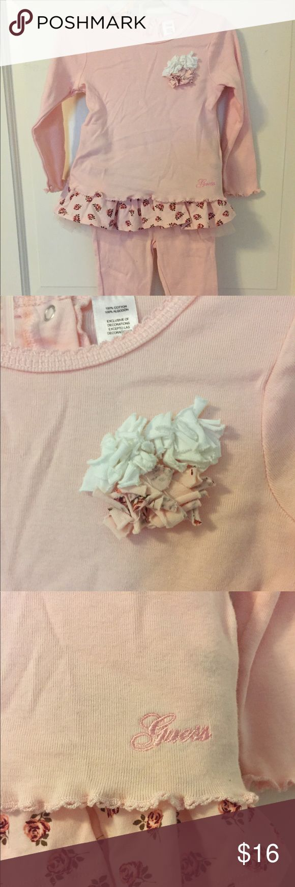 Guess Pink Two Piece Casual Outfit Soft pink cotton two piece long sleeve and pant outfit with coordinating floral ruffle skirt accent. No stains or rips. EUC. Worn only once or twice. Guess Matching Sets