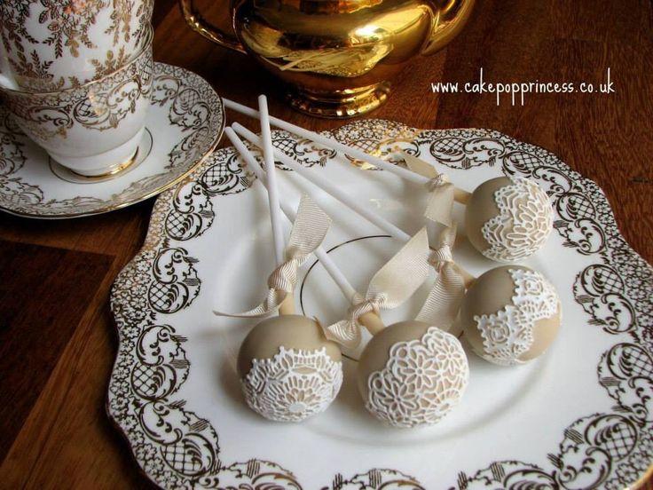 Beige & lace cake pops