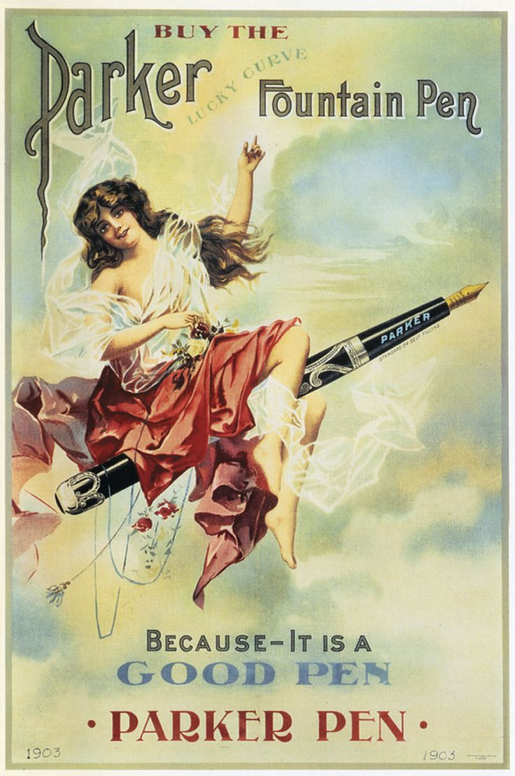 """Parker advertisement, The Lucky Curve Fountain Pen, 1903, page 61, from the book """"Fountain Pens of the World"""""""