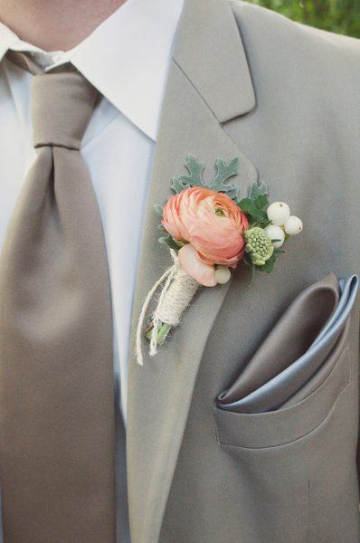 coral rose wrapped in turquoise (opposite of MOH), Groom's boutonniere white rose wrapped in turquoise (Opposite of bride) with turquoise ties?!