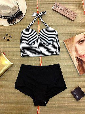 Vintage Traje De Baño Pin Up Girl Rockabilly Negro Cintura Alta Bikini Retro Nuevo Talla S