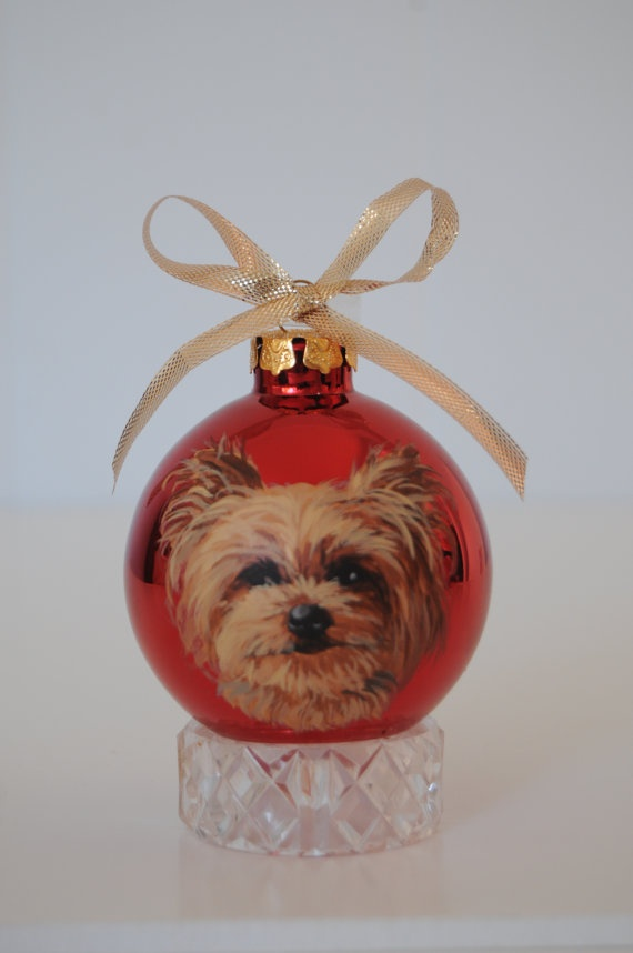 Yorkshire Terrier Portrait Pet Gift Ornament by MeliaArts on Etsy. , via Etsy.