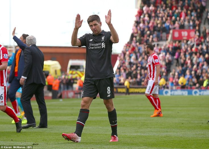 An emotional Gerrard waves to the adoring Liverpool fans having completed his last game for club before joining LA Galaxy in July