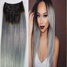 "16"" Clip In 1B/Silver Human Hair Extensions-120g 