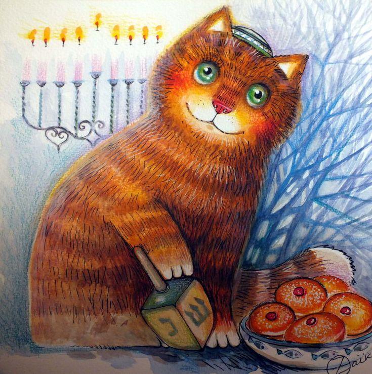 happy hanukkah - Peinture,  24x24 cm ©2015 par Oxana Zaika -                                                                                                              Art déco, Réalisme, Papier, Animaux, Chats, Cultures du monde, Nature morte, chat, toupie, Hanoucca, fête juive, Menora, yiddish, sevivonim, dreidel, jevish