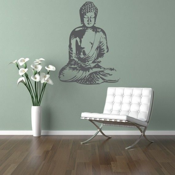 Buddha wall decal.  Not sure if my walls would work...they are nubby...