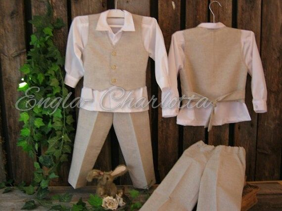 Linen ring bearer outfit. Boys linen suit. Rustic ring bearer suit. Country wedding. Toddler boy formal wear. Beige boys wedding suit by englaCharlottaShop on Etsy https://www.etsy.com/listing/112195711/linen-ring-bearer-outfit-boys-linen-suit