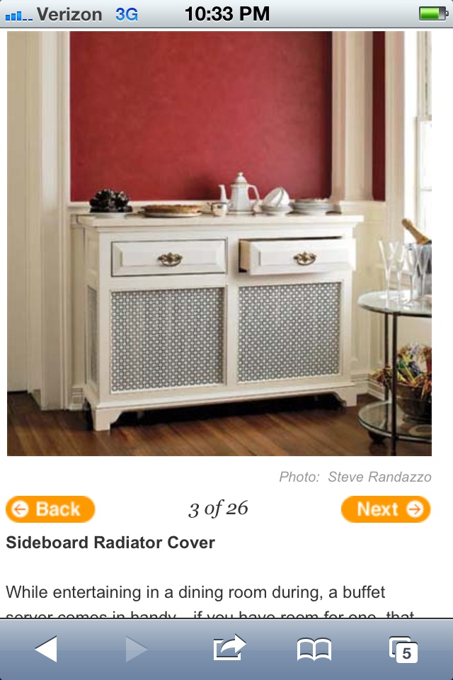 Radiator sideboard ... If I had radiators, I would definitely do this!  So cool!  Form + Function