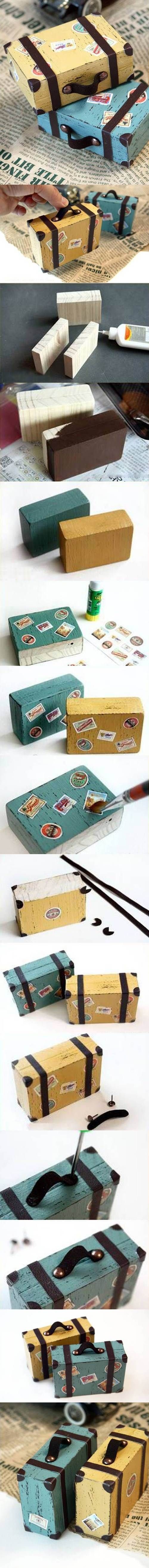 DIY Lovely Mini Suitcase Paperweights | iCreativeIdeas.com Like Us on Facebook ==> www.facebook.com/...