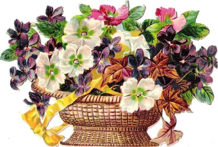 Oblaten Glanzbild scrap die cut  chromo  Blumen Korb  14,5 cm  basket  Veilchen