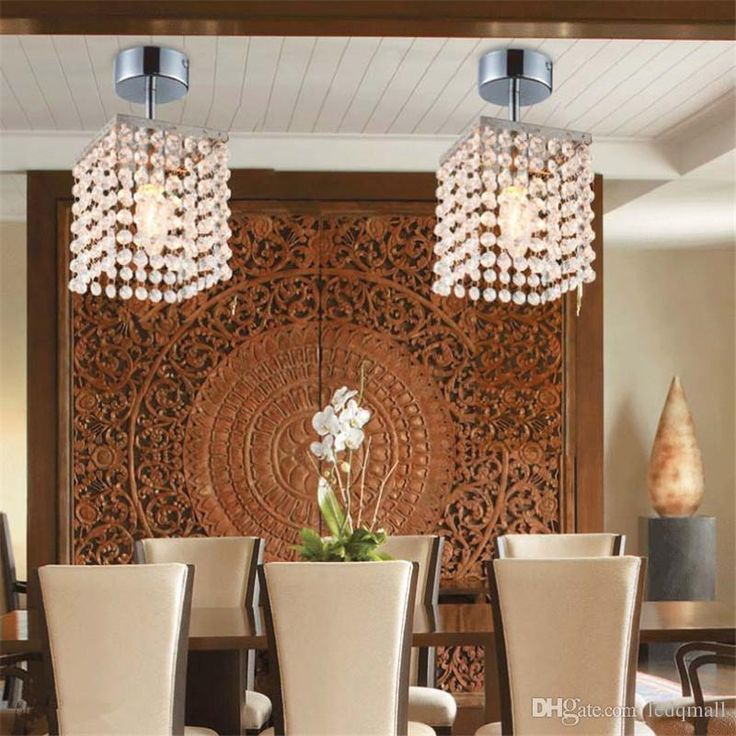 Modern Chandelier Light Ceiling Lamp Crystal Chandeliers Mini Semi Flush  Mount In Crystal Chandelier Entrance Hallway