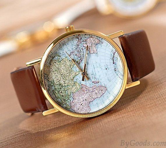 Retro World Map Leopard Brown Watch