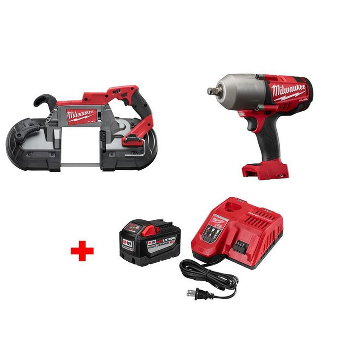Milwaukee M18 Fuel 18-Volt Lithium-Ion Brushless 1/2 in. Cordless High Torque Impact Wrench and Band Saw with 9.0Ah Starter Kit