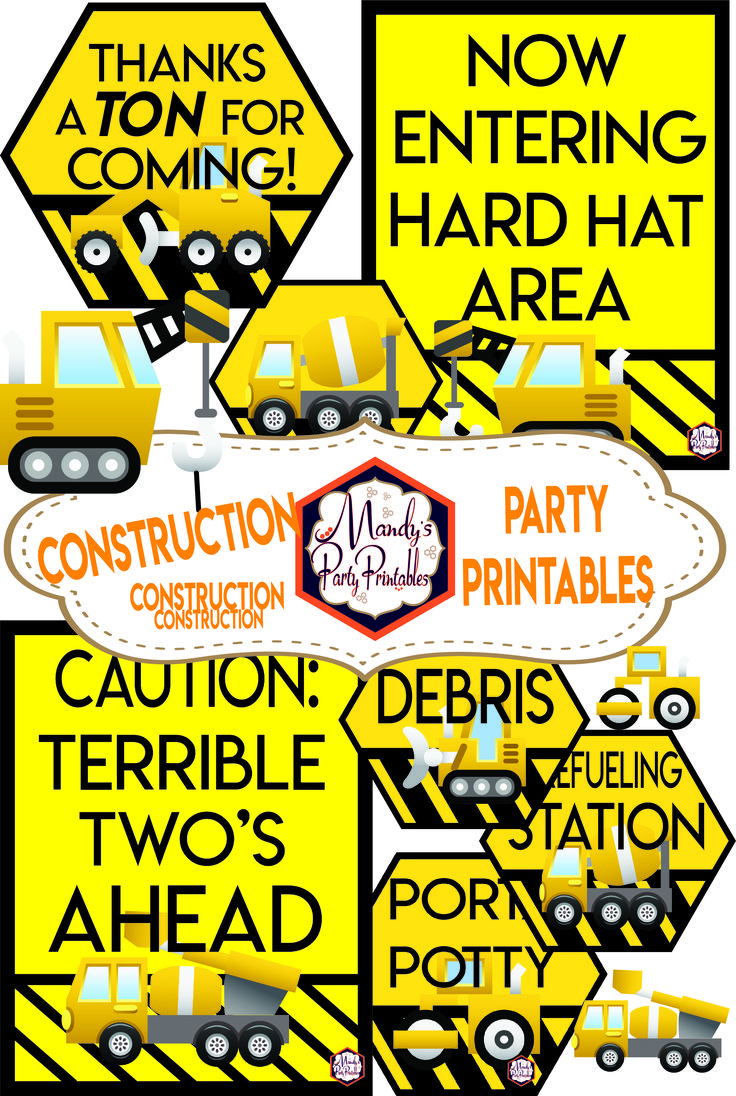 This is a photo of Candid Construction Birthday Party Printables