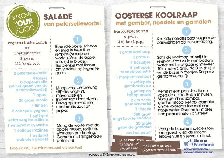 Salade van peterseliewortel en Oosterse koolraap met noedels en garnalen.