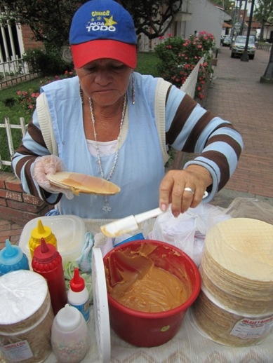 Street food in Bogota, Colombia.  Those waffle things in particular were awesome.