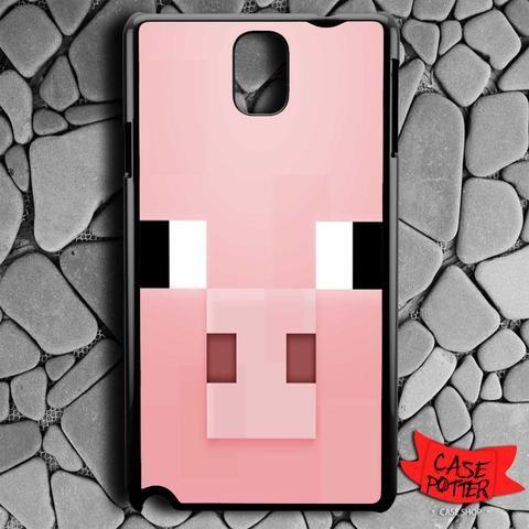 Minecraft Pig Pink Head Samsung Galaxy Note 3 Black Case