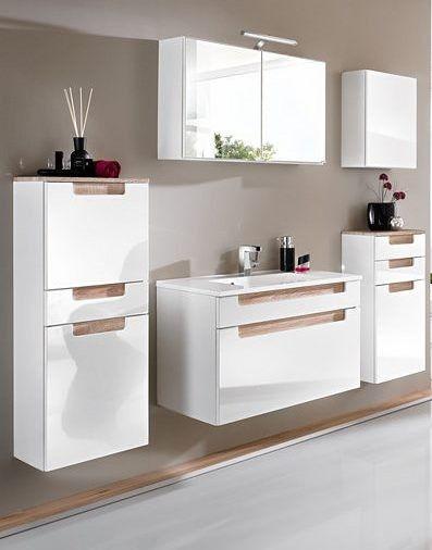 Wastafelkast Siena 60cm - wit/bruin > Scandinavische badkamermeubels te koop bij Emob.eu