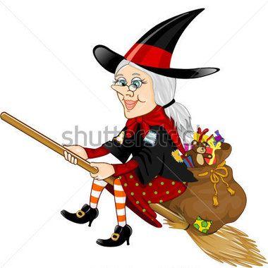 Befana, postava v tradici italské zjevení čarodějnice na koštěti s pytlem plným dárků průhlednost prolnutí efekty EPS 10