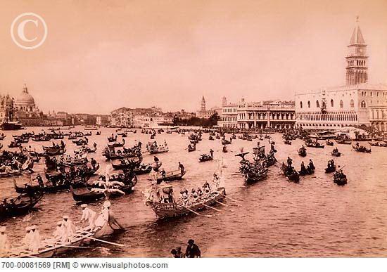 Vintage Photograph of Festa di San Marco, Circa 1900 Venice, Italy
