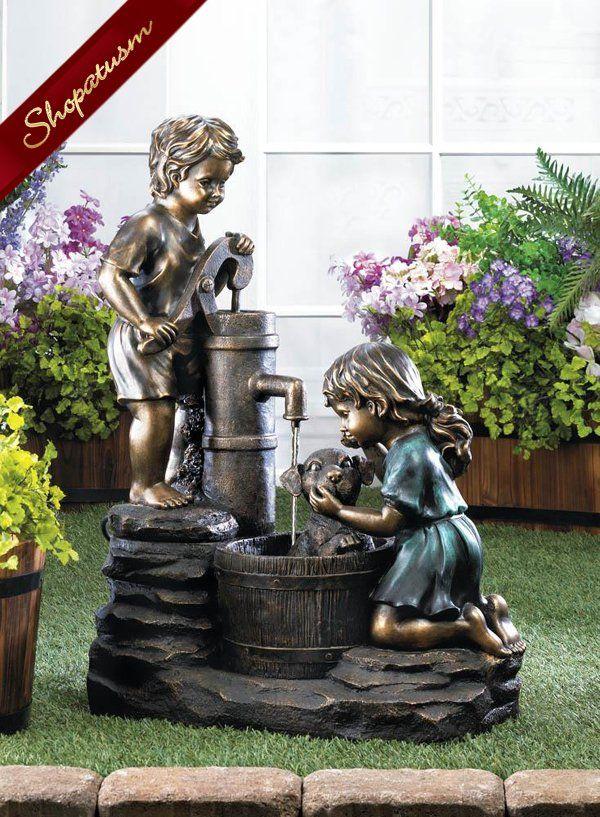 Vintage Style Children Giving A Dog A Bath Water Fountain Garden