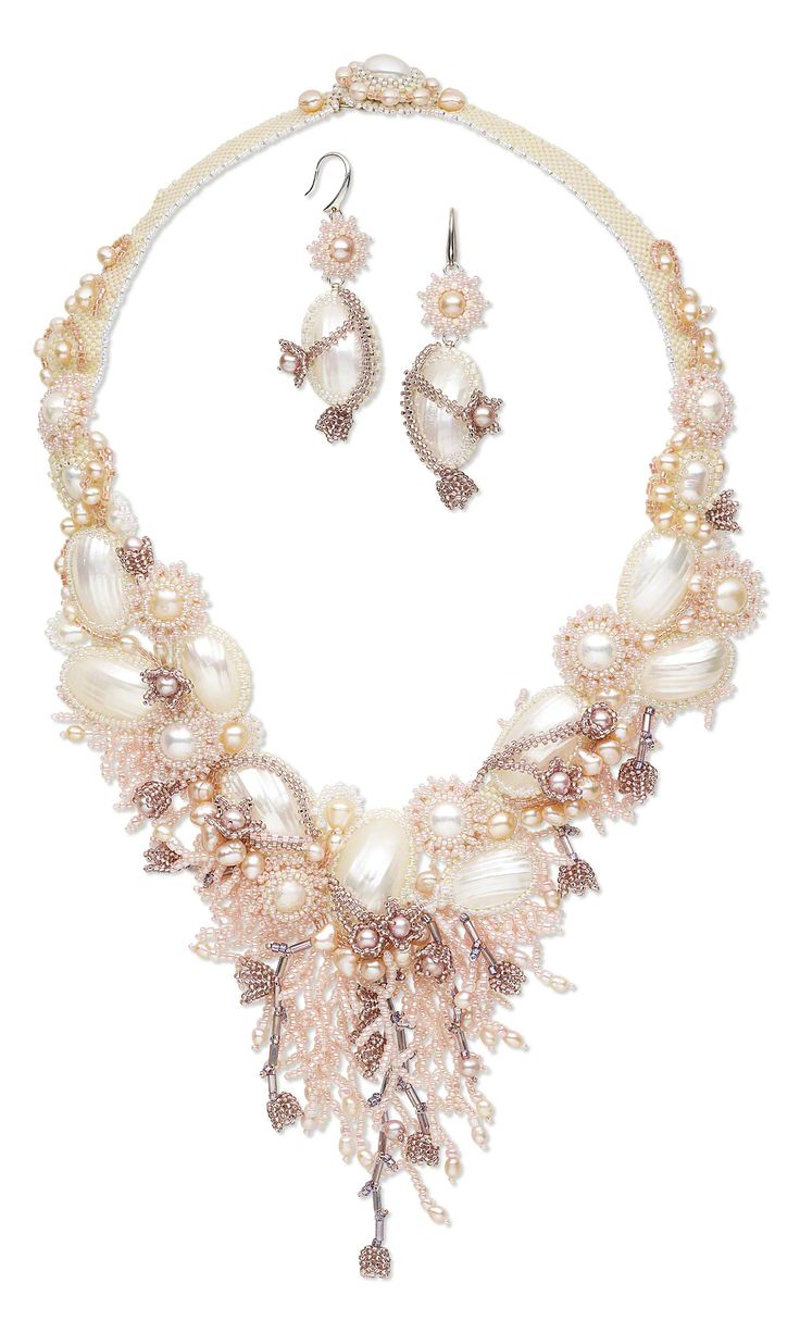 Jewelry Design - Bib-Style Necklace and Earring Set with Osmina Shell Cabochons, Cultured Freshwater Pearls and Seed Beads - Fire Mountain Gems and Beads