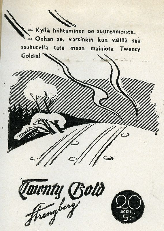 #talvi #hiihto #ladut #savukkeet #TwentyBold #Strengberg #cigarettes #winter #Suomi #Finland #crosscountryskiing #vanhatmainokset