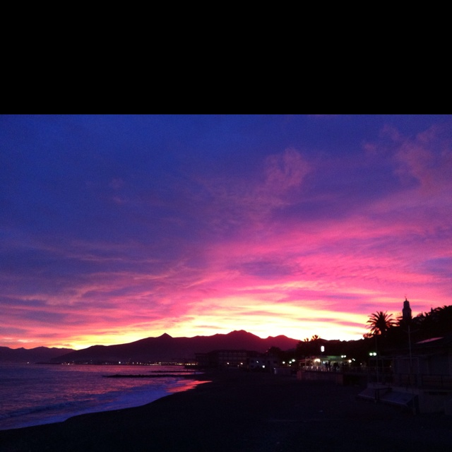 An awesome sunset in Pietra Ligure Liguria Italy