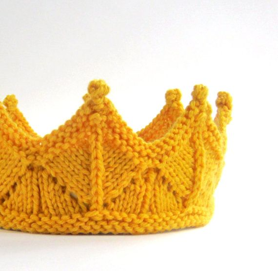 Golden Yellow Lace Knit Crown Headband for Dress Up, Birthday, Child Crown, Baby Crown - Welcome Prince George Alexander Louis of Cambridge