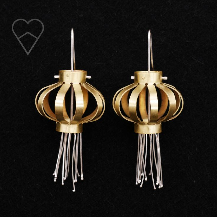 Hand cut brass and silver chinese lantern earrings.