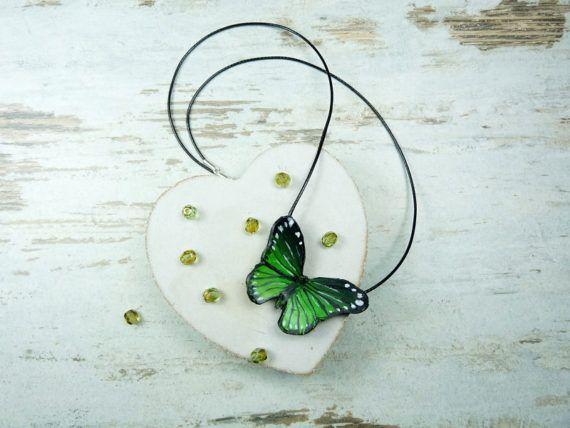 Butterfly pendant necklace polymer clay by KAMELEONjewelryART